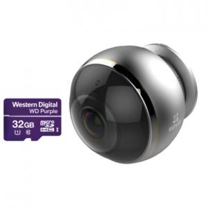 EZVIZ C6P + Карта памяти WD Purple CS-CV346-A0-7A3WFR (С6Р) Панорамная Wi-Fi камера c эффектом «рыбий глаз» с WIFI - 3Mpix
